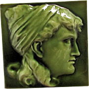 Antique c1881 Aesthetic Tile of a Lovely Lady, JG & J Low