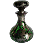 19thC Sterling Overlay Perfume Bottle with 3 Leaf Clovers