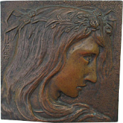 Antique Art Nouveau Bronze Plaque, Ophelia from William Shakespeare