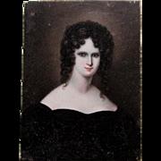 Fine Antique Miniature Oil Painting, Portrait of an English Lady