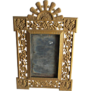 Antique c1880s Aesthetic Movement Mirror, Picture Frame with Owls & Birds