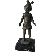 Art Deco Bronze Sculpture, Little Girl in Flapper Dress with Bow
