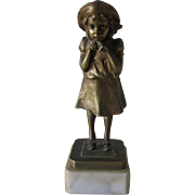 Art Deco Bronze Sculpture, Little Girl in Straw Hat