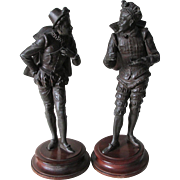 Pair c1890s Ansonia Ball Player Sculptures, Figurines