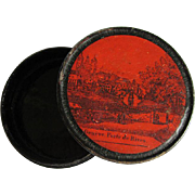 Antique c1830s Geneve Porte de Rives, Swiss Paper Mache Snuff Box