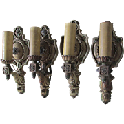 Elegant Set of 4 Art Nouveau, Art Deco Wall Sconces, Lights