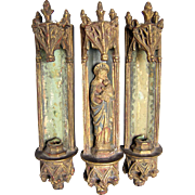 3 Piece Borghese Gothic Grotto & Candle Sconces with Madonna Mary