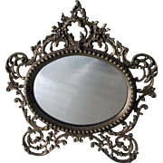 Antique French Rococo Mirror, Picture Frame with Roses