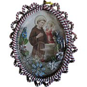Old French Beaded Icon Saint Joseph in Bubble Glass Picture Frame