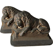 Antique Cast Iron Lion of Lucerne Bookends