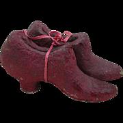 Pair Antique Macerated Money High Heel Ladies Shoes