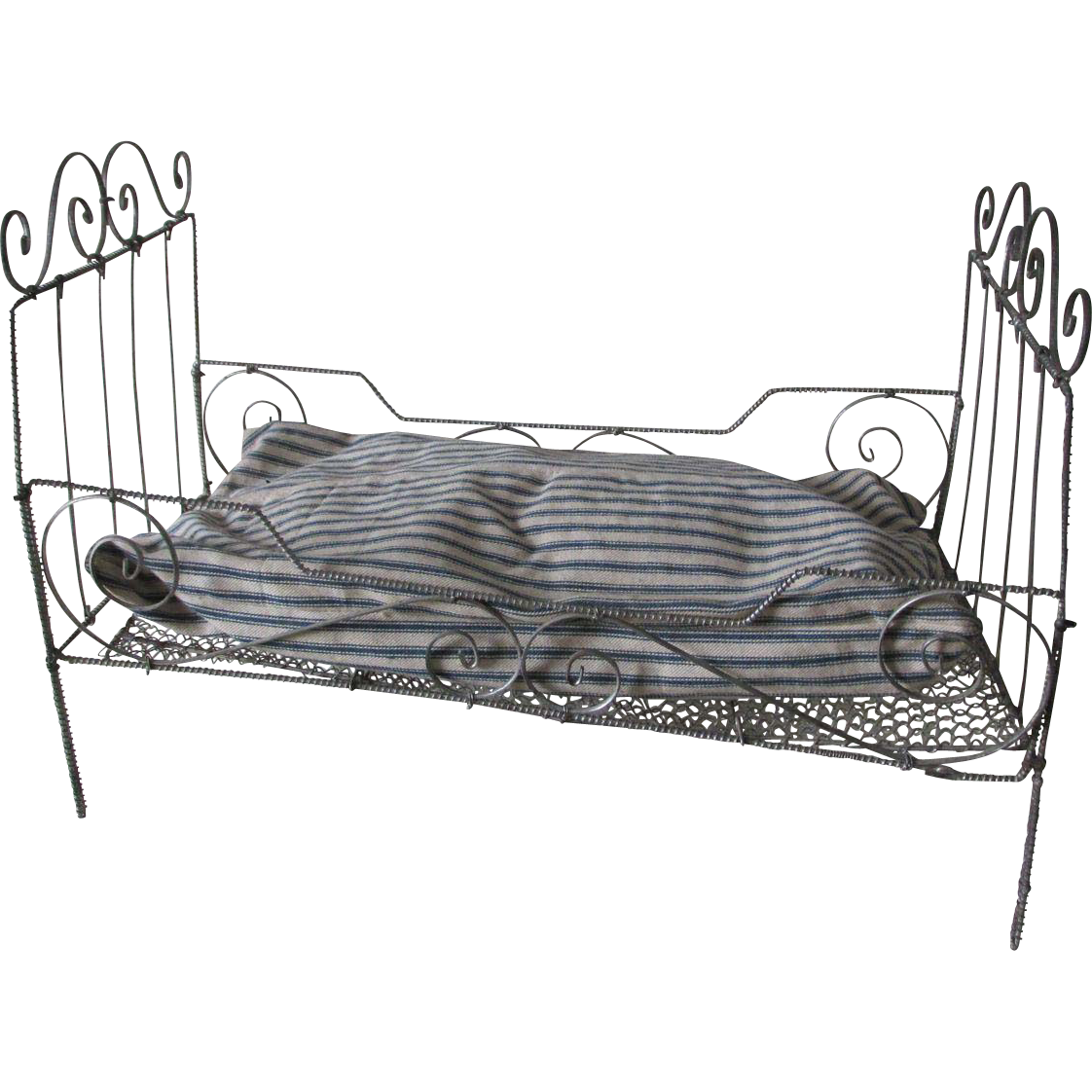 antique wire ware doll  teddy bear bed with ticking mattress from neatcurios on ruby lane