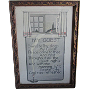 Antique Art Deco Motto Poem, My Guest in Original Frame