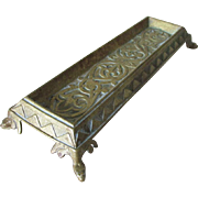 Antique Brass Desk Pen Tray with Snake, Serpent Motif