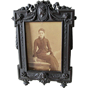 Rare Antique c1850s Gutta Percha Thermaplast Picture Frame