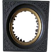 Antique c1850s Gutta Percha Thermaplast Picture Frame for Miniature