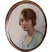 Antique c1900 Edwardian Miniature Painting,  Mourning Pendant with Hair
