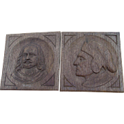 Pair c1900 English Hand Carved Oak Panels, Dante & Shakespeare