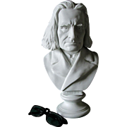 Antique Bisque Bust of Hungarian Composer Franz Liszt
