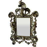 Antique Mythological Mirror, Picture Frame with Mermaid Children, Neptune