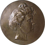 Signed c1908 Bronze Plaque, Historical Woman