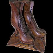 Great Vintage Folk Art Wood Ladies Shoes, Black Forest Germany