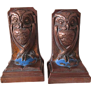 c1920s Arts & Crafts, Great Horned Owl & Book, Armor Bronze Bookends