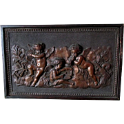 Antique Architectural Plaque of Cherub Angels & Musical Instruments
