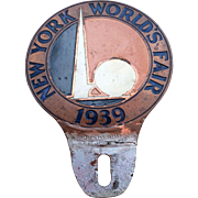 Rare 1939 World's Fair License Plate Topper, Trylon and Perisphere