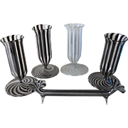 5 Circa 1920s Art Deco, Austrian Bimini Glass Miniature Vases