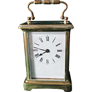 Antique French Bronze & Beveled Glass Carriage Clock