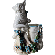 Whimsical c1880s Cat Playing a Mandolin Match Safe, Soft Paste Porcelain