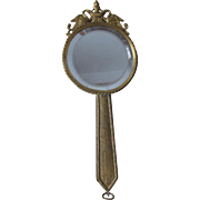 19thC French Bronze Hand Mirror, Picture Frame with Swans and Fountain