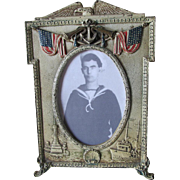 Antique Spanish American War Picture Frame, USS Olympia, USS Maine Ships