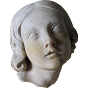 Antique Marble Architectural Fragment of an Angel, Garden Decor
