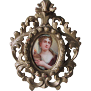 Antique Miniature Porcelain Plaque of Adrienne Lecouvreur, French Actress