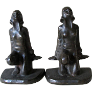 Pair Art Deco Nude Lady Bookends, Cubist, Brutalist Design