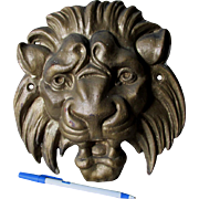Antique Cast Iron Lion Head Architectural Ornament, Garden Decor