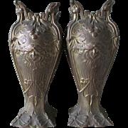 Pair Antique Art Nouveau Vases Garnitures, Ladies Faces, Butterflies & Ginko Leaves