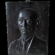 c1923 German Bronze Plaque of a Gentleman, Signed JS,  Noack, Berlin, Friedenau
