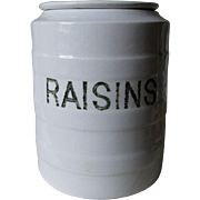Antique Porcelain Kitchen Canister Marked Raisins, Storage Jar