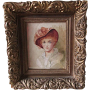 Original Watercolor Painting of Lady with Feathered Hat