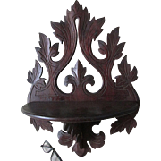 Antique c1880 Folk Art  Hand Carved Walnut Shelf with Leaf Motif