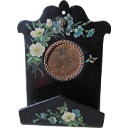 19thC Victorian Paper Mache Pocket Watch Display,  Card Holder