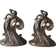 c1925 Art Deco, Art Nouveau Nude Water Sprite Bookends, Cast Iron
