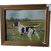 Antique Folk Art Oil Painting of a Hunting Dog, Spaniel