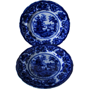 Pair 19thC Staffordshire Flow Blue Plates, Fairy Villa by Adams