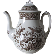 Antique c1880 Wedgwood Beatrice Brown Transferware Teapot, Staffordshire