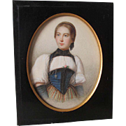 Antique Watercolor Painting of Lovely Young Lady Listed Artist, Jakob Suter  (1805 - 1874)