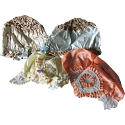 4 c1920s Art Deco Flapper Silk, Satin & Lace Bonnets Night Caps